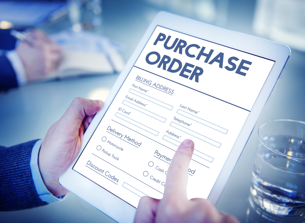 Digital purchase order on a tablet