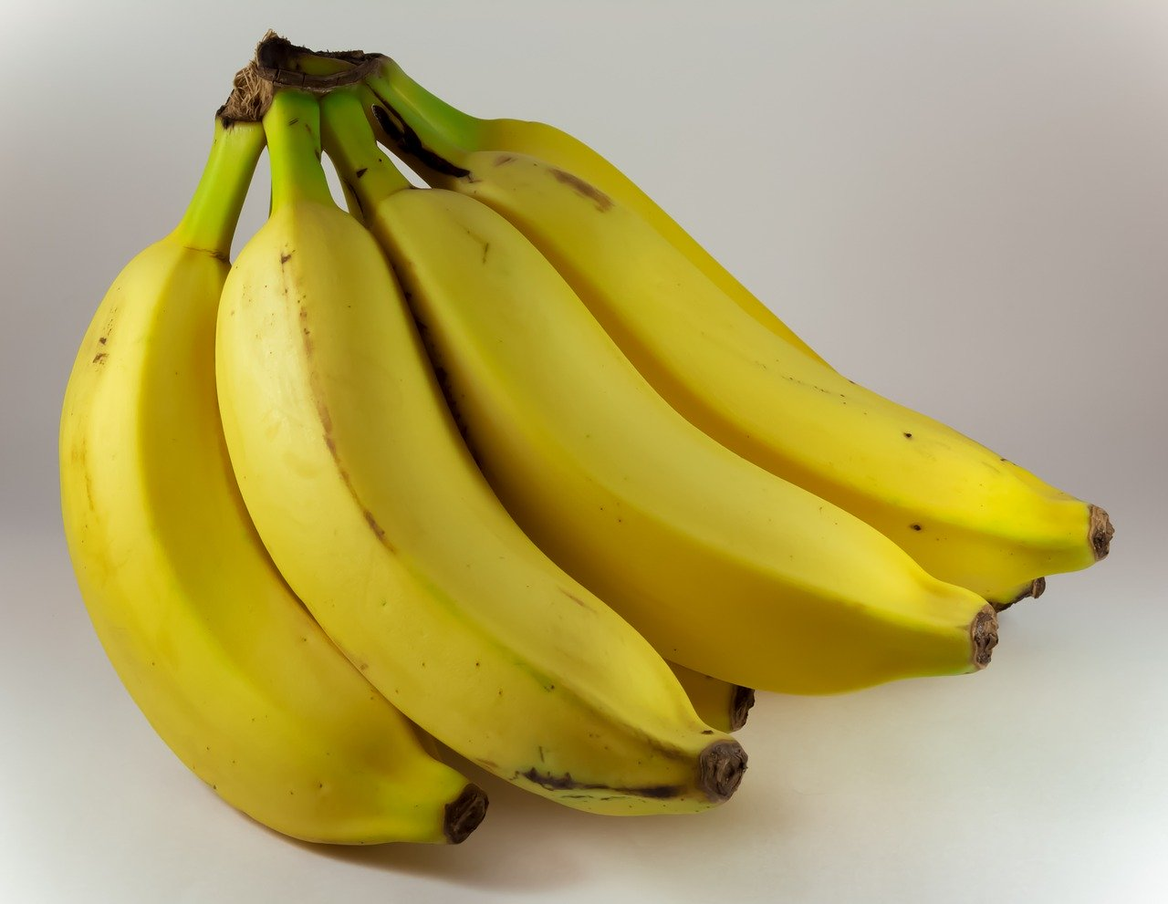 A bright yellow bunch of bananas