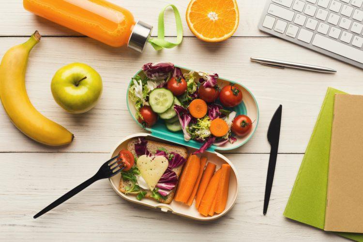 Healthy snacks on a work desk