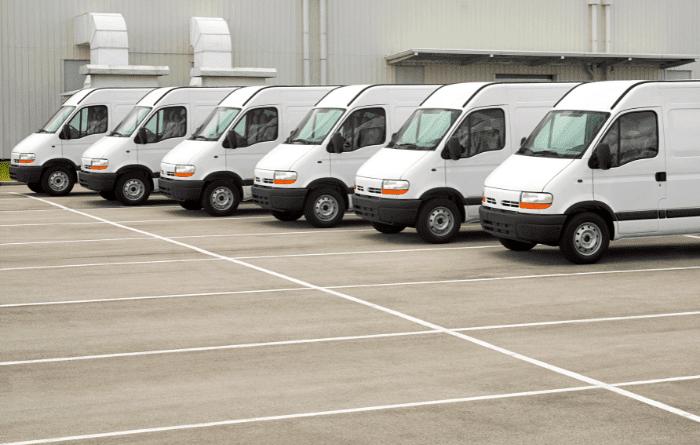 fleet of delivery vans